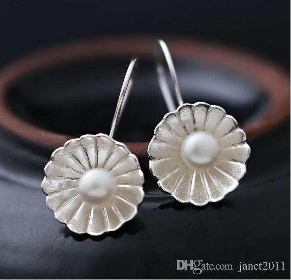 71649093baff6 Charm Daisy Pearl Earrings S925 Silver Sterling Flower Hanging Dangle  Earrings Jewelry Gifts For Her Hoop Earrings