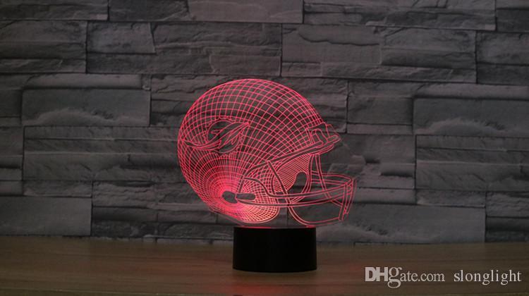 Freies Verschiffen 3D optische Täuschungs-Lampen-Delphinfußballsturzhelm-Nacht beleuchtet mehrfarbiges kreatives Gerät LED Kida Kiddie Gift