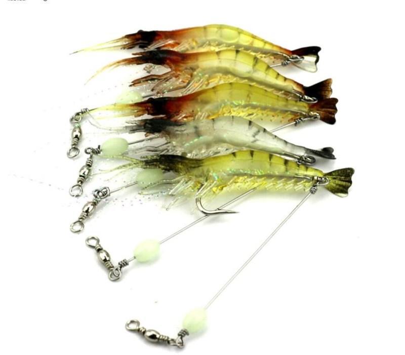 Swimbaits Shape Luminous Shrimp Bait 7.5cm 6.6g Artificial Soft Plastic Lures or Prawn Fishing Lure for Saltwater