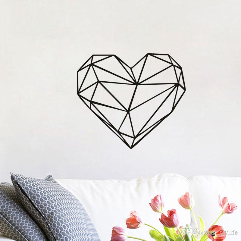 Geometric Heart Shaped Vinyl Love Wall Decal Sticker Home Decoration