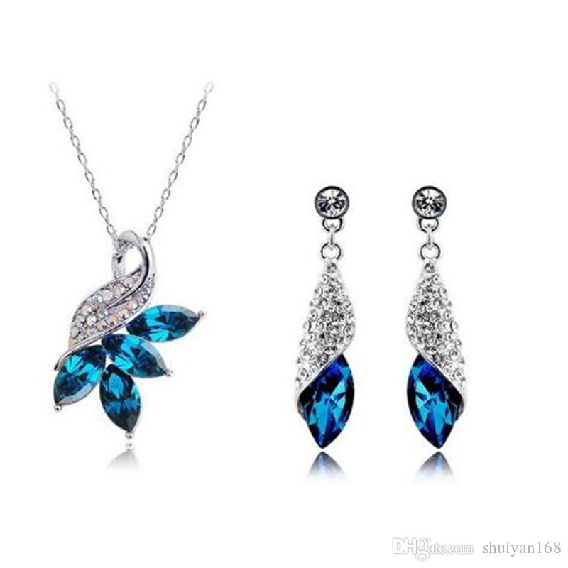 Österreichischen Kristall Strass Schmuck Sets Silber Ohrringe Farbe DHL Designs Hochwertige Halskette Neu Und Ohrringe Frau Kristall Schmuck