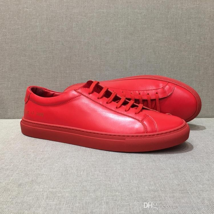 5bfeb4f4fb39 DHL Ship Italy Brand Original Common Projects Men Women Low Top Red Genuine  Leather Casual Shoes Chaussure De Luxe Homme Mens Shoes Loafers From  Giuszanotty ...