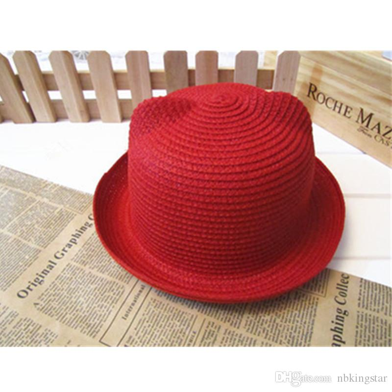 Fashion Kids Cat Ear Straw Bucket Hat Summer Childen Cute Animal Cap Stylish Baby Outdoor Sun Protection Hats For Boys And Girls