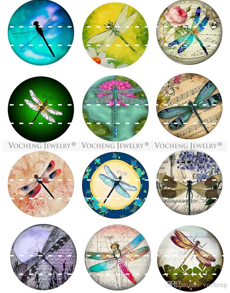 NOOSA Ginger Snap Button Jewelry Colorful Dragonfly Series Glass Snap Charms 18mm Mixed Wholesale VOCHENG Vn-1813