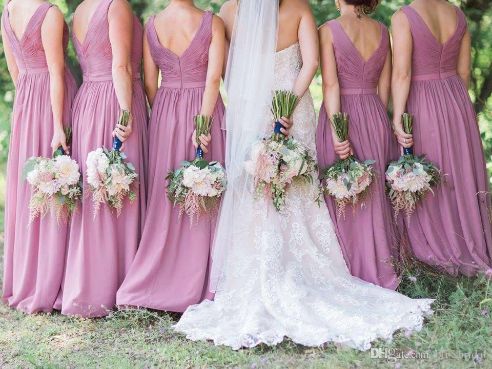 2017 Envío gratis Vestido de dama de honor con cuello en V Púrpura Vestido formal Vestido Formal Pastels Hecho a medida A-Línea Dama de honor Vestidos