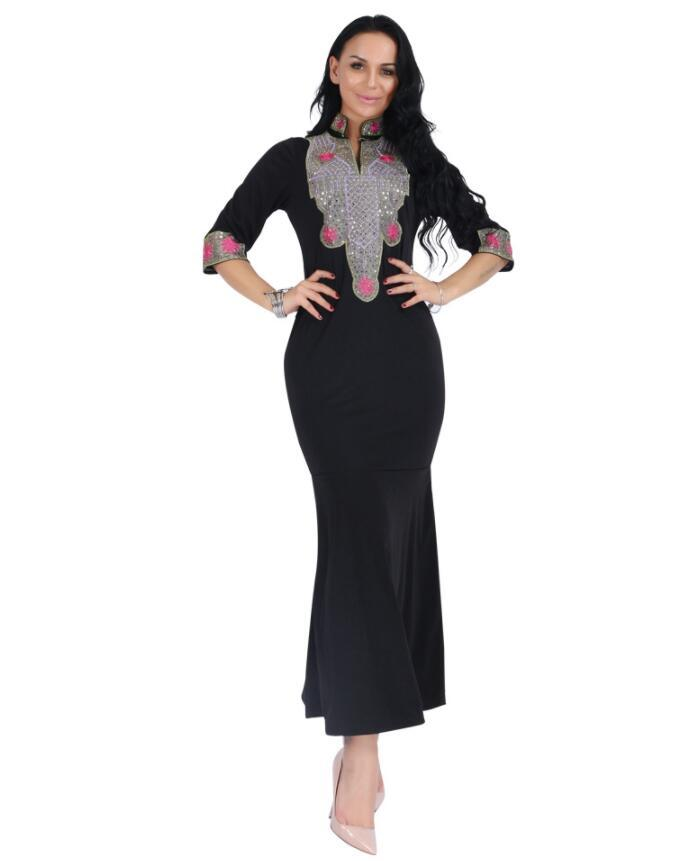 7bfc0180d8a Muslim Abaya Embroidery Middle East Moroccan Tunic Maxi Dress Robe ...