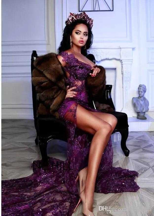 섹시한 인어 보라색 댄스 파티 드레스 2018 오프 숄더 고리 버들 티브 아플리케 안장이없는 이브닝 드레스 챠밍 프런트 스플릿 공식 파티 드레스