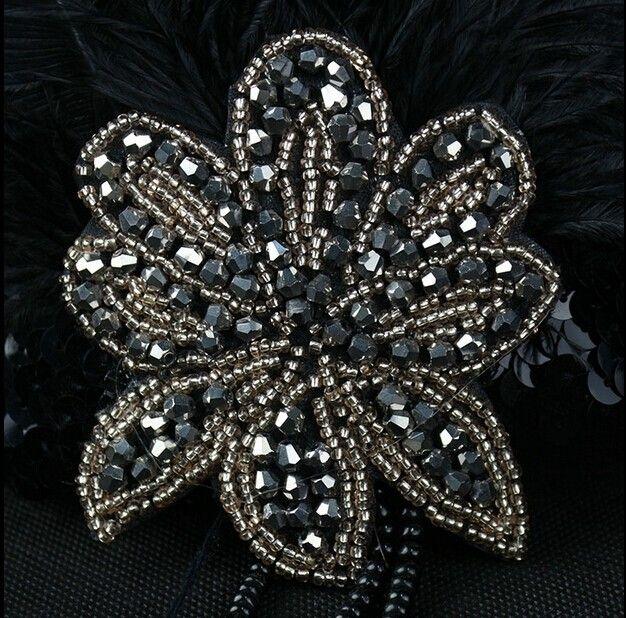 Negro avestruz Rhinestone de la pluma del partido de la vendimia casco de la boda venda de la aleta del 1920 gran Gatsby caliente banda para el cabello