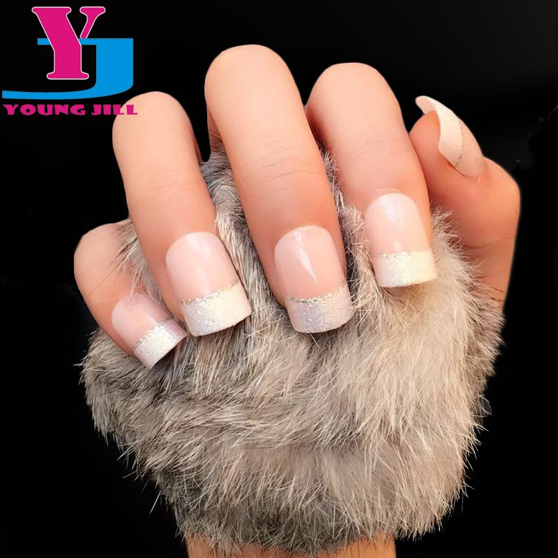 Wholesale Natural French Short False Nail Tips Classical Acrylic Glitter Design Patch Fake Nails 2016 Hot Selling Manicure Art Sets Pens