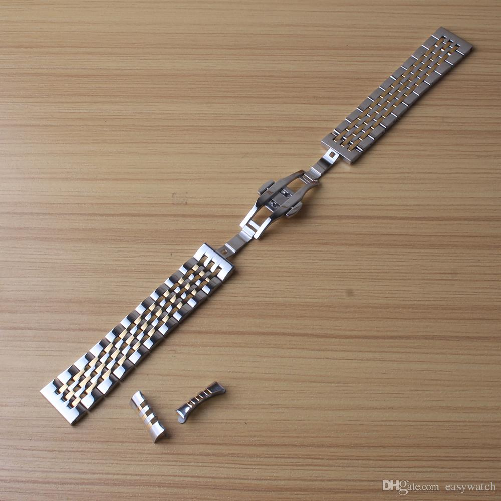 Free Curved ends Watchband +Straight ends Watchband COMMON Stainless steel silver and gold watch strap bracelet for men women 18 19 20 21mm