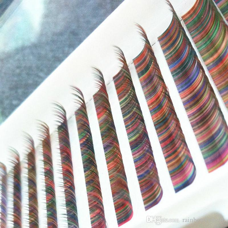 Eigene Marke Rainbow Bunte Einzelne Wimpern Verlängerungsschalen Großhandelspreis Günstige Seide Falsche Wimpern Sets Drop Shipping