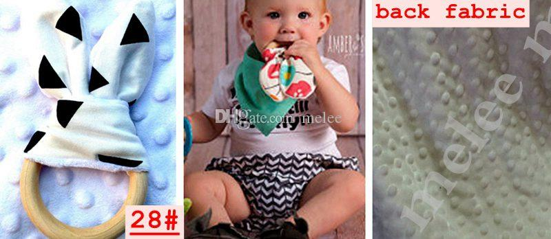 INS bebé de Chevron del zigzag Teethers Círculo de madera natural con el oído de conejo recién nacido Tela dientes Práctica Anillo hecho a mano Formación Juguetes
