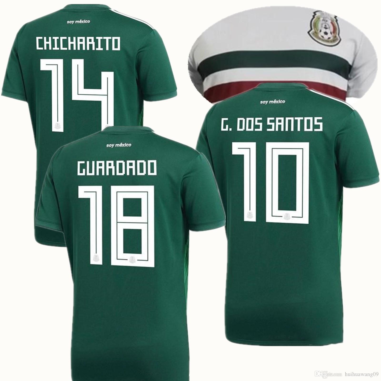 2018 Copa Del Mundo México Jersey Inicio Verde G.DOS SANTOS 14 CHICHARITO  J.Hernandez M.Layun A.Reyes Camisetas De Fútbol Equipo De Camisetas De  Fútbol Por ... dda794016968c