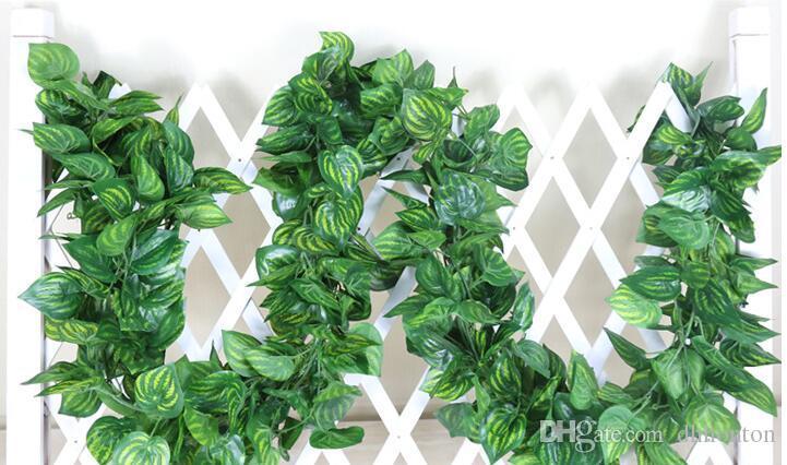 90 feuilles 2.4m de raisins verts artificiels feuilles d'autres vignes de lierre de Boston décoré de faux canne fleur en gros Livraison gratuite HH08