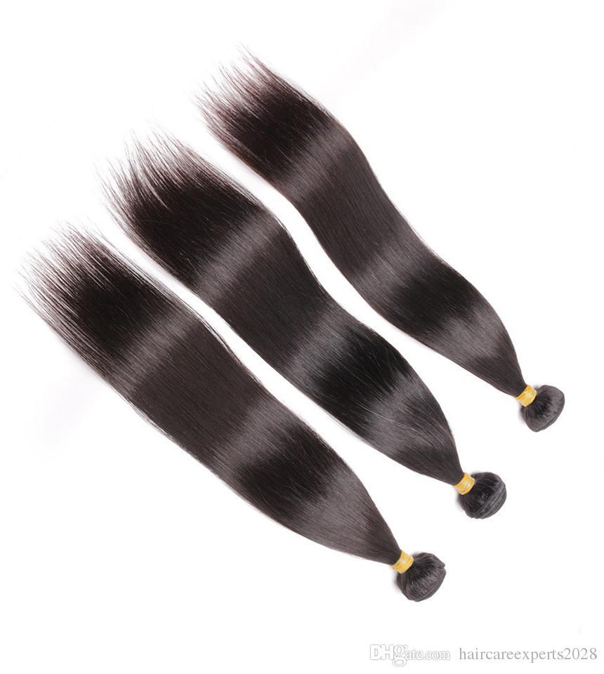 Indian virgin hair 100g/pcs Unprocessed Indian Straight Virgin Hair 6A Indian Straight Human Hair Bundles DHL