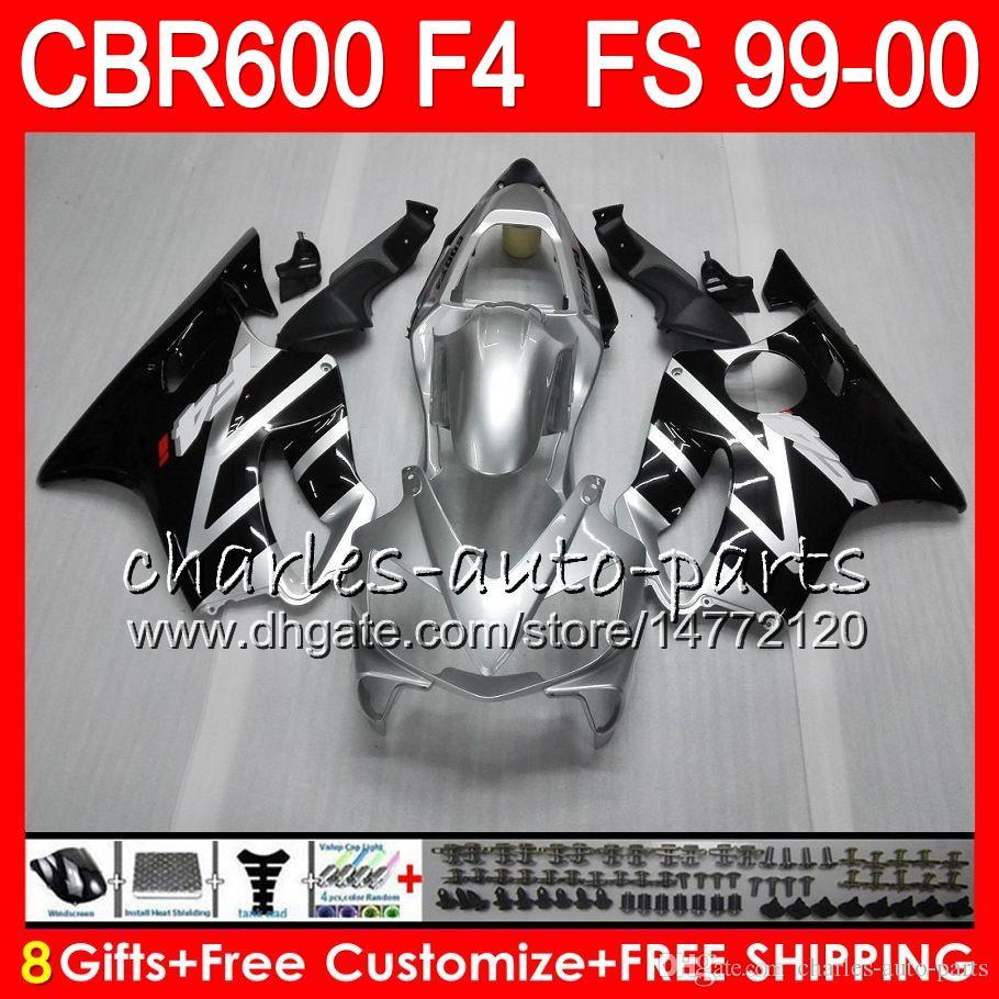 8Presentes 23Corpo Carroçaria Para HONDA CBR 600 F4 99-00 CBR600FS FS preto Prata 30HM13 CBR600 F4 1999 2000 CBR 600F4 CBR600F4 99 00 Carenagem Kit