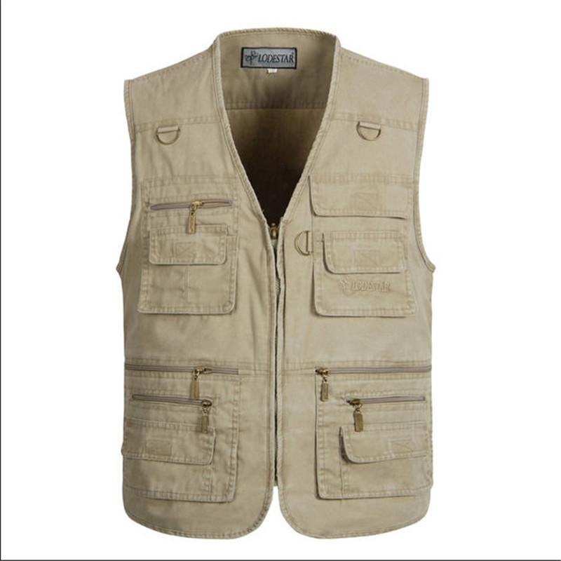 e18eeaaaf4f 2019 Wholesale XL 5XL Male Casual Vests Men Cargo Vest Mens Multi Pocket  Photographers Sleeveless Jacket Plus Size Summer Vests A803 From  Goodly3128