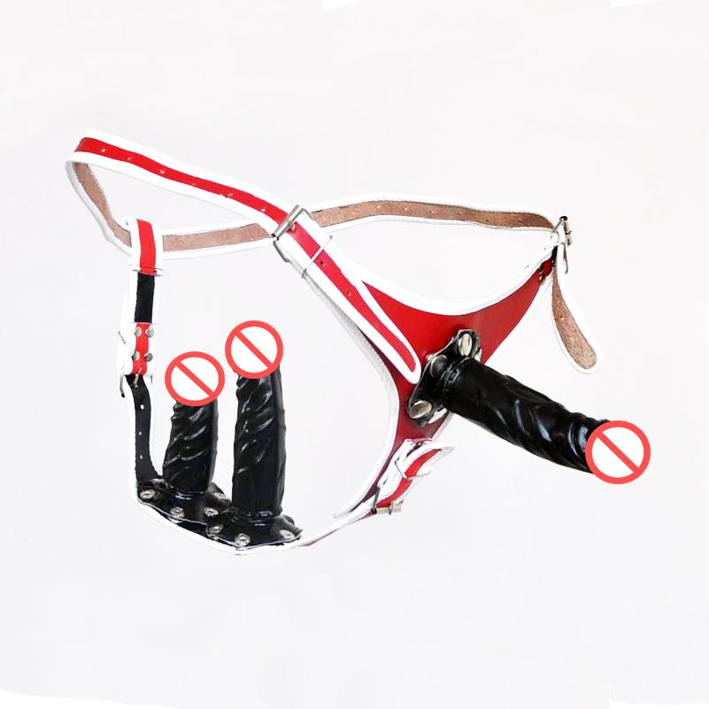 Strap On Dildo Female Chastity Belt with Anal Plug and Vagina Plugs soft pvc leather Pant Sex Products for gay Sex Product