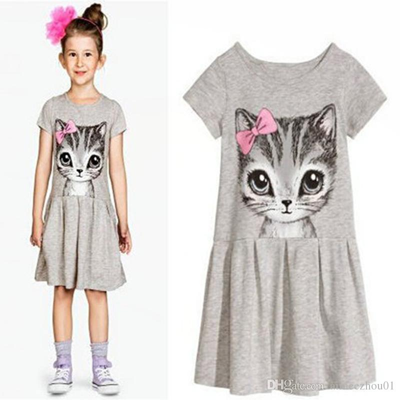 7be0a720a 2019 New Summer Girls Dresses Cat Print Grey Cotton Casual Baby Girl ...