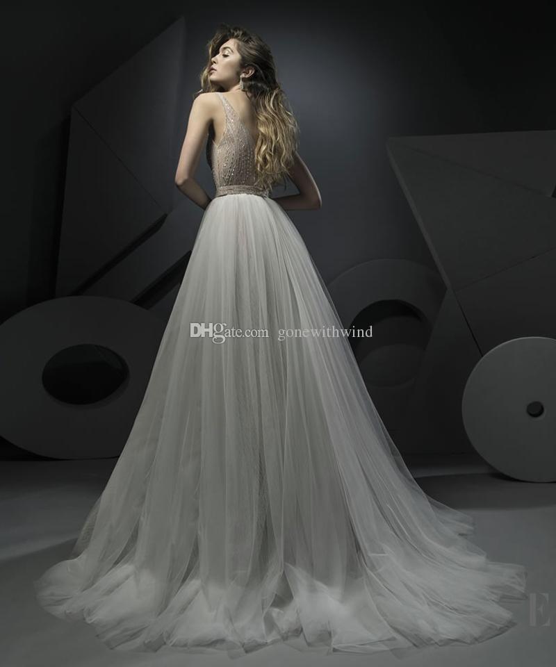 57b2873ec47 Свадебные платья с бриллиантами 2018 Ersa Atelier свадебное платье с  глубоким v