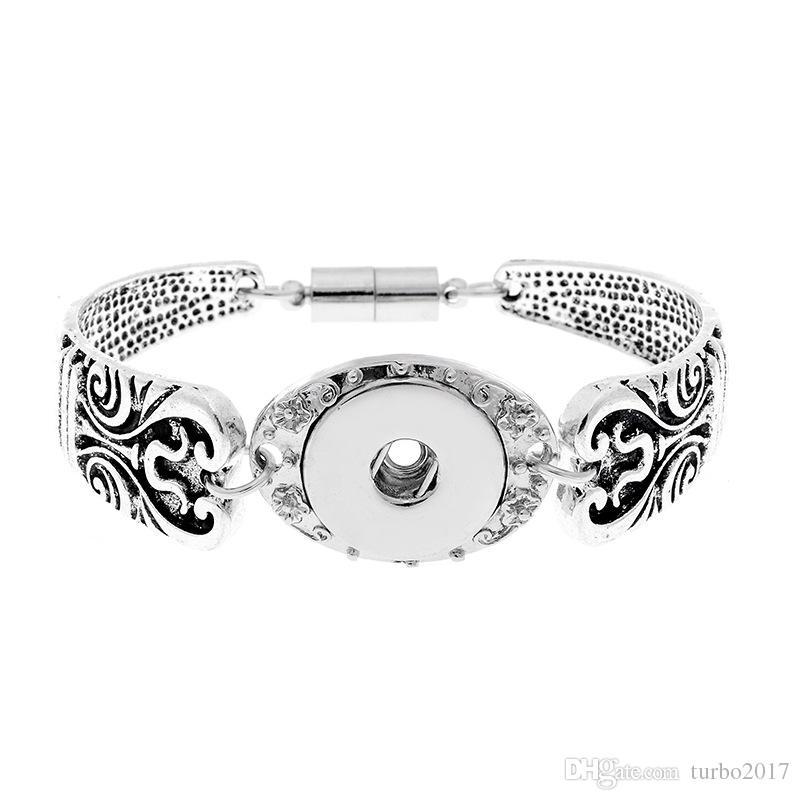 스냅 버튼 팔찌는 18mm 금속 단추에 맞습니다. Noosa Chunks 스냅 브레이슬릿 앤티크 실버 Noosa Snap Jewelry