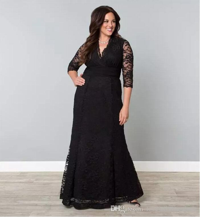 2017 Modest Black/Silver Mother Of The Bride Dresses Sheer 3/4 Long Sleeves V Neck Floor Length Lace Gowns For Fat Women