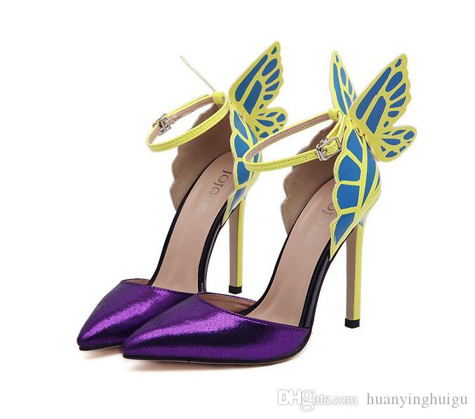 2021 Neue dünne High Heels Frauen Pumps 8/11cm, Schmetterling Heels Sandalen Sexy Hochzeitsschuhe Party Gelb Lila Schwarzer Größe: US4-US9 SX27