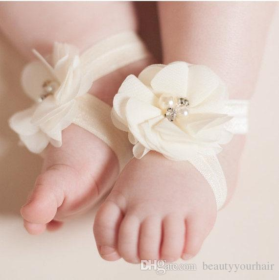 Toddler baby sandals chiffon flower shoes Crystal Pearl cover barefoot foot flower ties infant kids first walker shoes Photography props