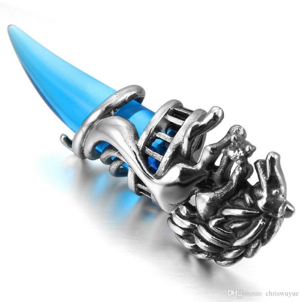 Crystal Red Blue Wolf Tooth Colgantes flotantes tribales para medallones de cristal Colgante Collar colgante de acero inoxidable para hombres