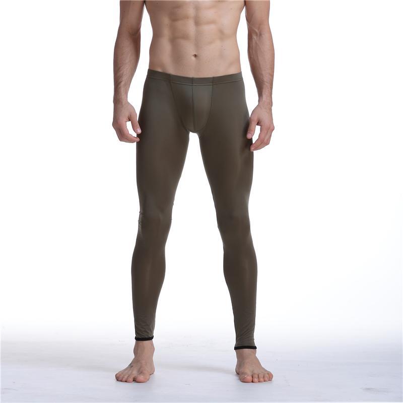 Sexy Hommes Mesh Transparent Maille Érotique Ultra-mince Gay Long Johns Ice Silk Leggings Pantalon Collants Casual Long Slip Hommes Pantalon Sheer