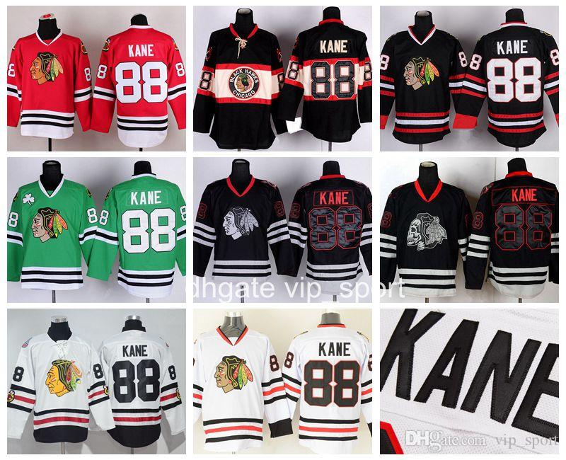 f7578068344 2019 Chicago Blackhawks 88 Patrick Kane Jersey Men Winter Classic Throwback  Skull Black Ice Patrick Kane Hockey Jerseys Red White Green From  Best_sale_store ...