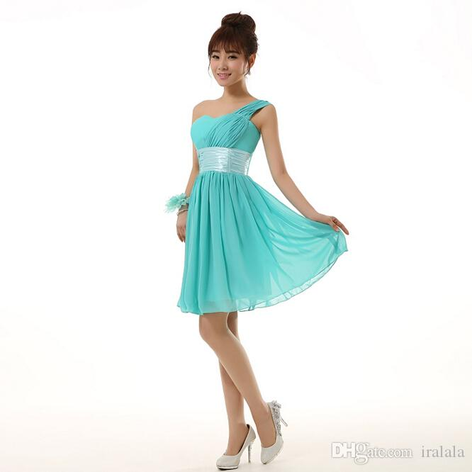 ae4a81b0eed New Arrival 2018 Short Semi Formal Modest One Shoulder Sweet A Line Dress  Turquoise Homecoming Dresses Under 100 For Party H2698 Classy Homecoming  Dresses ...
