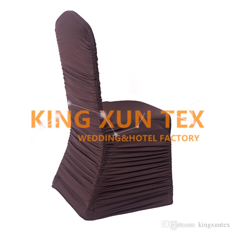 Sold Ruffled Pleated Lycra Spandex Chair Cover Factory Wholesale Price For Wedding Decoration
