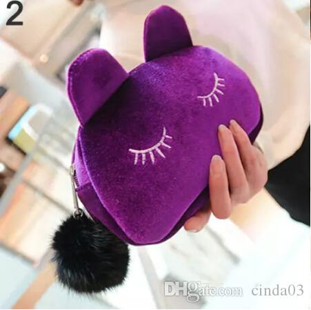 Cute Portable Cartoon Cat Coin Storage Case Travel Makeup Flannel Pouch Cosmetic Bag Korean and Japan Style free shipping