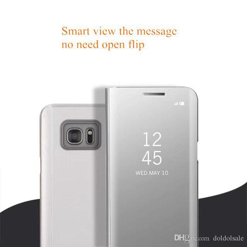 Роскошные зеркало Clear View Case для Samsung Galaxy S6 Edge Plus S7 Edge S8 plus Примечание 5 Примечание 8 крышка телефона покрытие базы вертикальная подставка