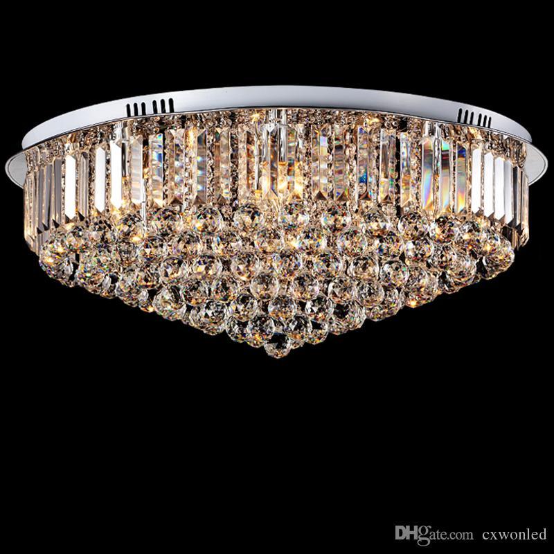 Lampada da soffitto a Led in cristallo Lampada da soffitto E14 rotonda K9 Lampada a sospensione a soffitto in cristallo argento cromato lucido soggiorno