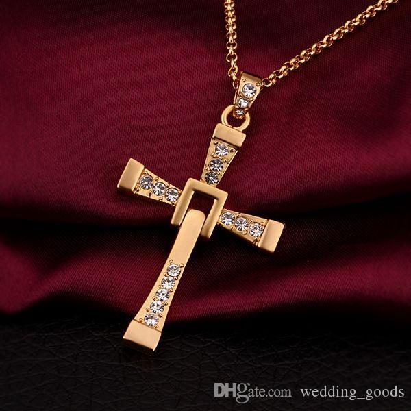 Collana con pendente gioielli in oro 18 carati da uomo di alta qualità con collana WGN703, A ++ collane in oro giallo oro giallo con catene