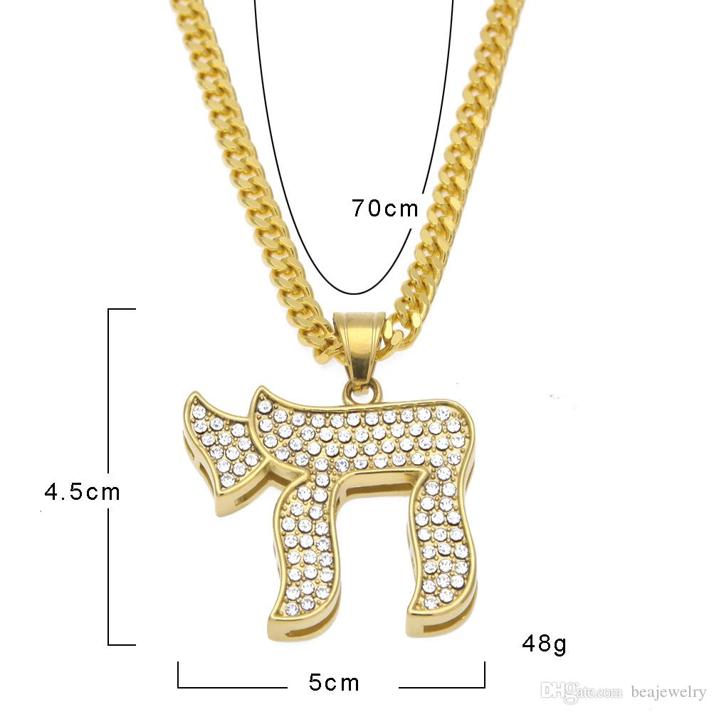 The New Stainless Steel CHAI Jewish Symbol PI Special Modeling Hot Exaggerated Pendant Necklace Long-term Supply For Hip-Hop