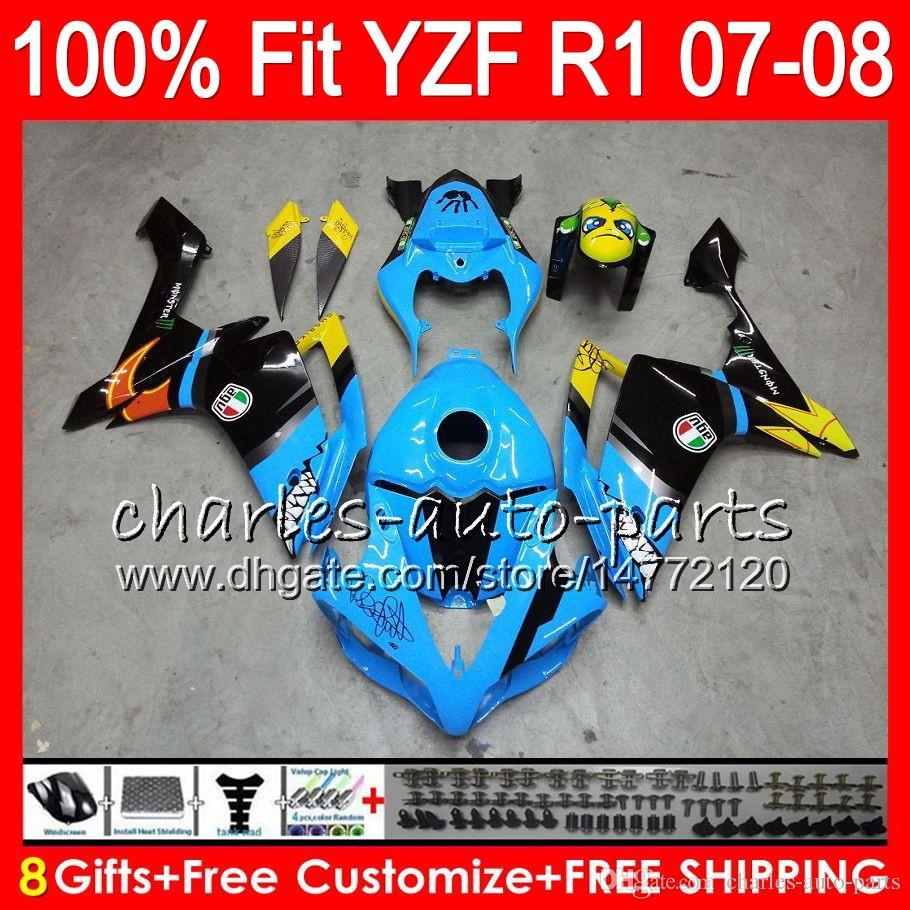 8ギフト注入ヤマハYZF1000 YZFR1 07 08 YZF 1000 37 HM18落書きブルーYZF-R1 07-08 YZF-1000 YZF R 1 YZF R1 2007 2008フェアリング
