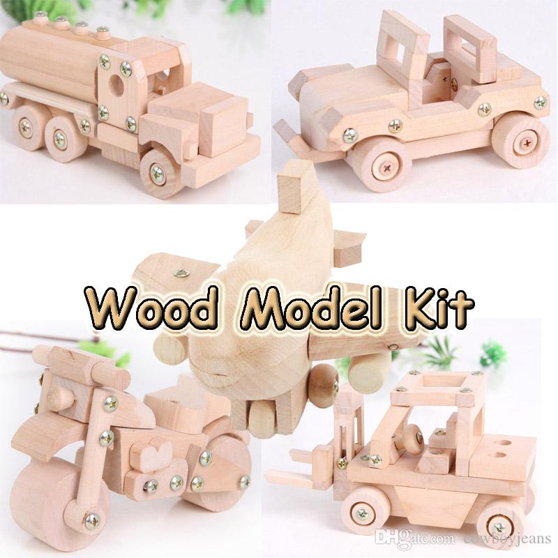 TONKA Wood Disassembly And Assembly model plane car tanker forklift  motorcycle wood Model Kits Children Educational Creative Toy