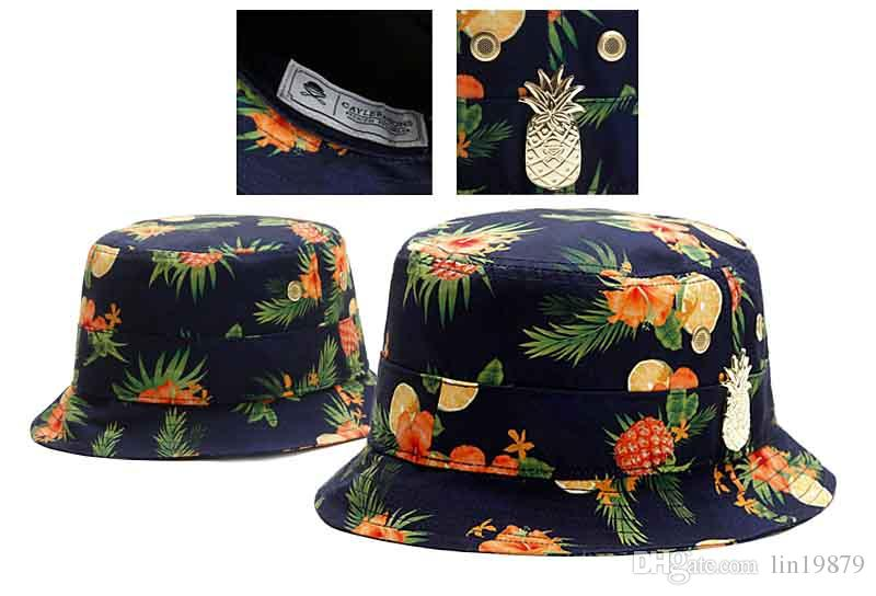 Men Women Cayler   Sons Metal Pineapple Bucket Hats Masks Gorras Unisex  Summer Caps For Hunting Fishing Hicking Camping Climbing Outdoor Black  Floppy Hat ... 5743a48e07a
