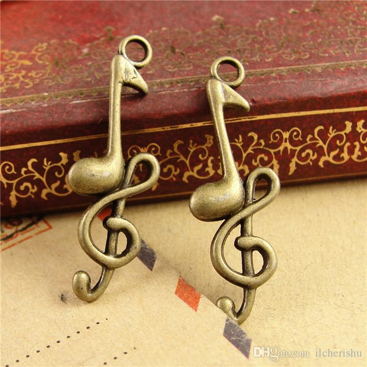 11*32MM The new ZAKKA zinc alloy retro bronze musical charms, musical pendant popular manual DIY jewelry accessories wholesale metal beads