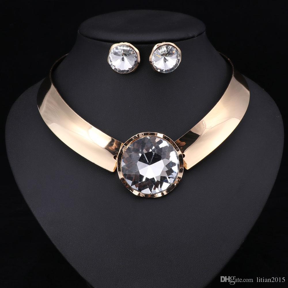 Sistemas de la joyería de las mujeres Collar de moda con el collar de la declaración de los pendientes para la manera de la boda del partido 2016 Venta directa