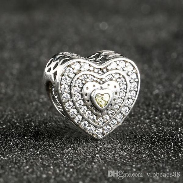2017 Spring Lavish Heart Charms Beads Fits Brand Bracelets 925 Sterling Silver Pave Clear Golden CZ Bead DIY Jewelry