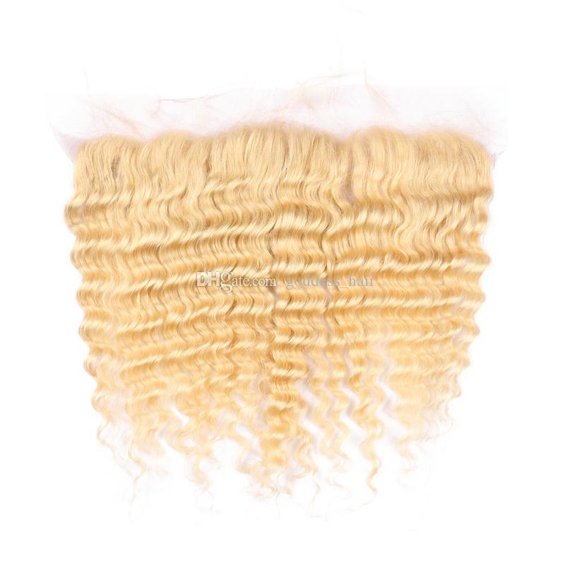 De Buena Calidad Blonde 613 Deep Wave 13x4 encaje Forntal con cabello humano teje rubio 613 pelo rizado profundo con oreja a oreja frontal