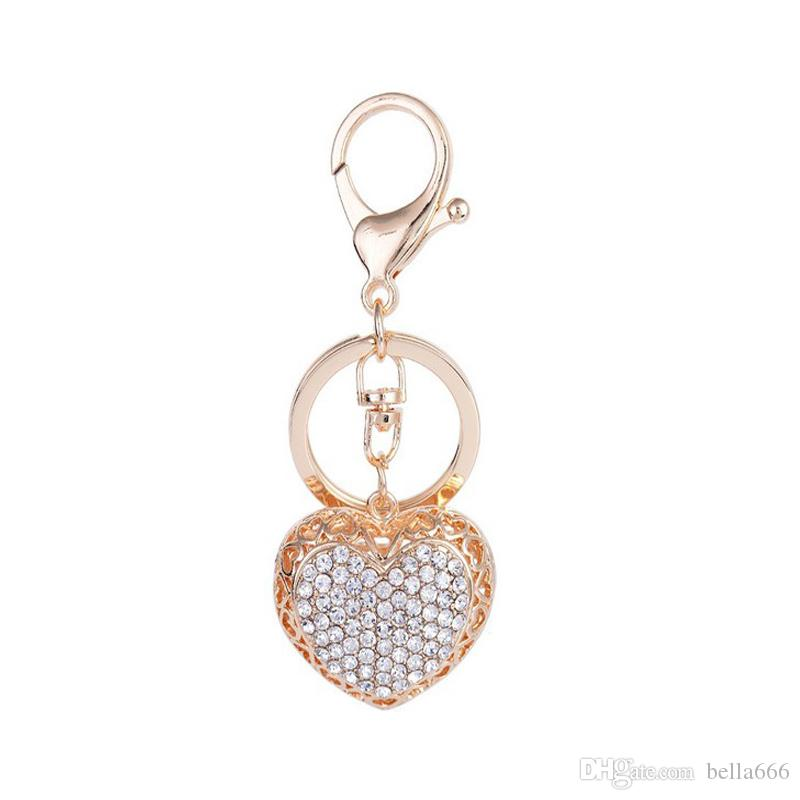 af274a802749 2018 Fashion Jewelry Gold Plated Full Rhinestone Pendant Love Heart Alloy  Car Keychain Bag Ornaments Party Gift Key Ring Jewelry From Bella666