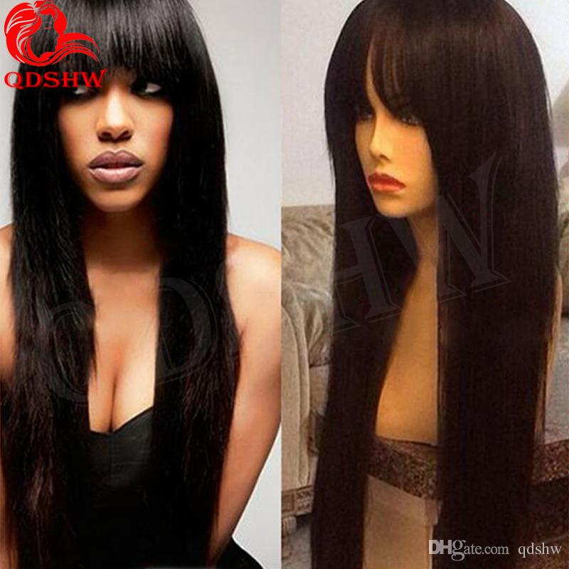 Human Hair Wig With Fringe With Baby Hair Virgin Brazilian Cheap Full Wig With Bangs Glueless Brazilian Lace Wigs Fringe For Black Women