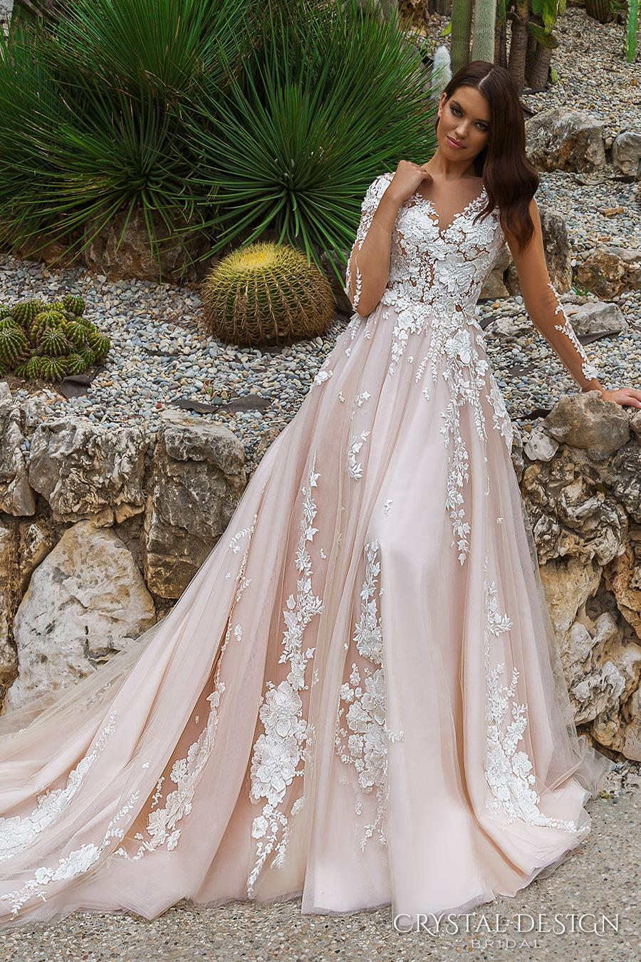 Blush Long Sleeved Princes Wedding Dresses 2017 Crystal Design ...