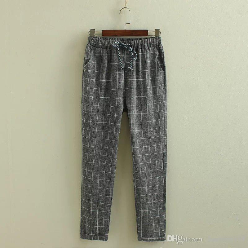 Yaz tarzı Kadın harem pantolon kadın ekose rahat pantolon Pantalon femme elastik bel pantolon kadın pantolon