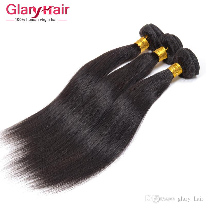 2017 Hot Sale Peruvian Virgin Hair Mix Length Brazilian Virgin Human Hair Weave Bundles Glary Factory Wholesale Straight Hair Products